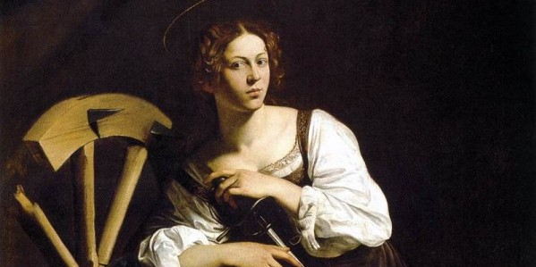 This painting first made me fall in love with Caravaggio. I was alone with it in the room where it's housed in a Madrid museum. The saint, who's about to meet her death, seemed to watch me. I couldn't leave. It was as though I was abandoning her to her fate.