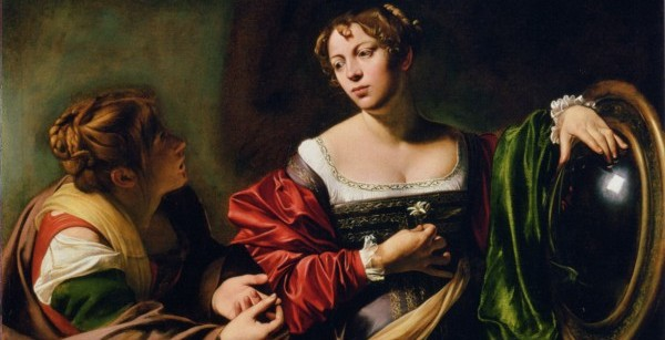 Fillide again, with a second woman whose beauty is so much greater for the way Caravaggio disguises her in the shadow. The convex mirror may be a clue to Caravaggio's use of projected images to help him paint an exact, almost photographic, image.