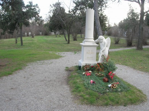 Mozart was buried in St. Marx Cemetery, a 10 minute tram-ride from the edge of old Vienna. This marker was put up in his honor, but no one knows where he lies -- somewhere under the grass behind the tombstone. The land was reused for later graves.